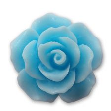 18mm Baby Blue Resin Rose Bloom Cabochon